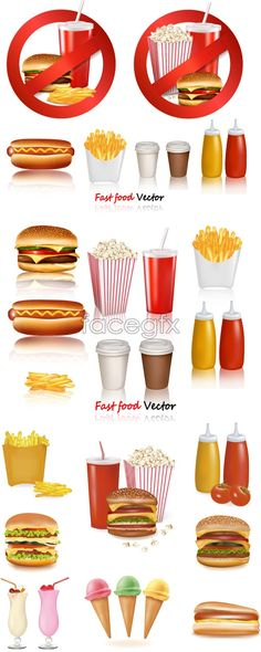 Fast Food Digital, Realistic Clip Art, Commercial, PNG, Printable.