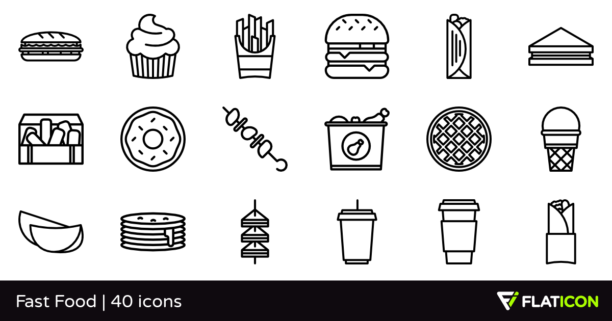 Fast Food 40 free icons (SVG, EPS, PSD, PNG files).