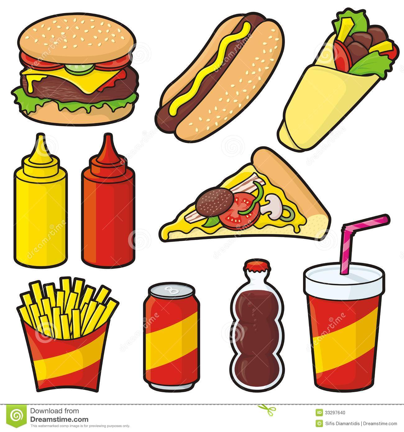 Healthy and junk food clipart.