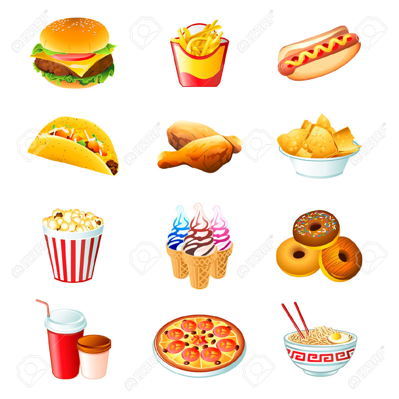 Colorful Icons With Fast Food Meals Isolated Royalty Free Cliparts.