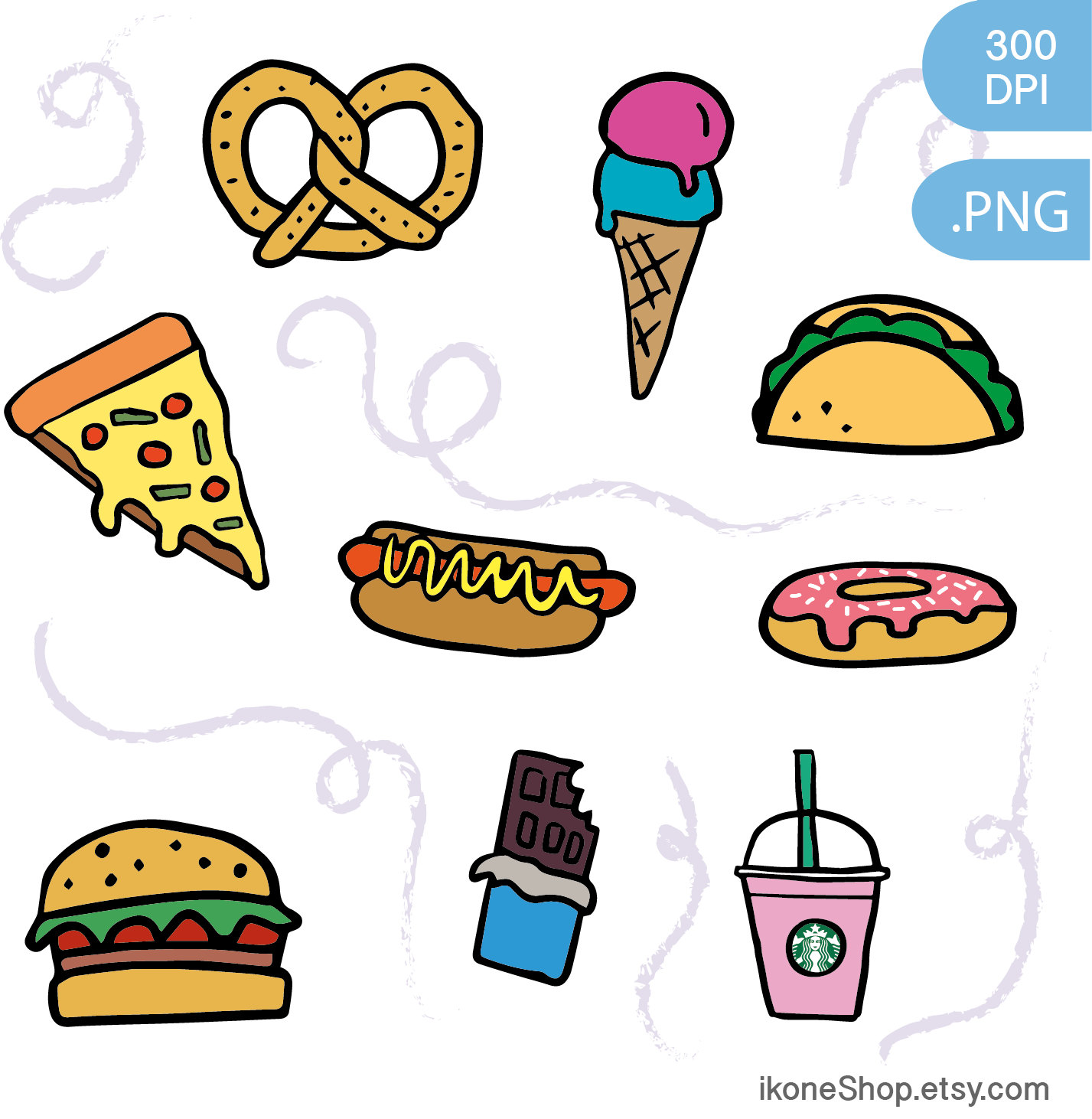 Junk food clipart fast food and sweets digital by ikoneShop.