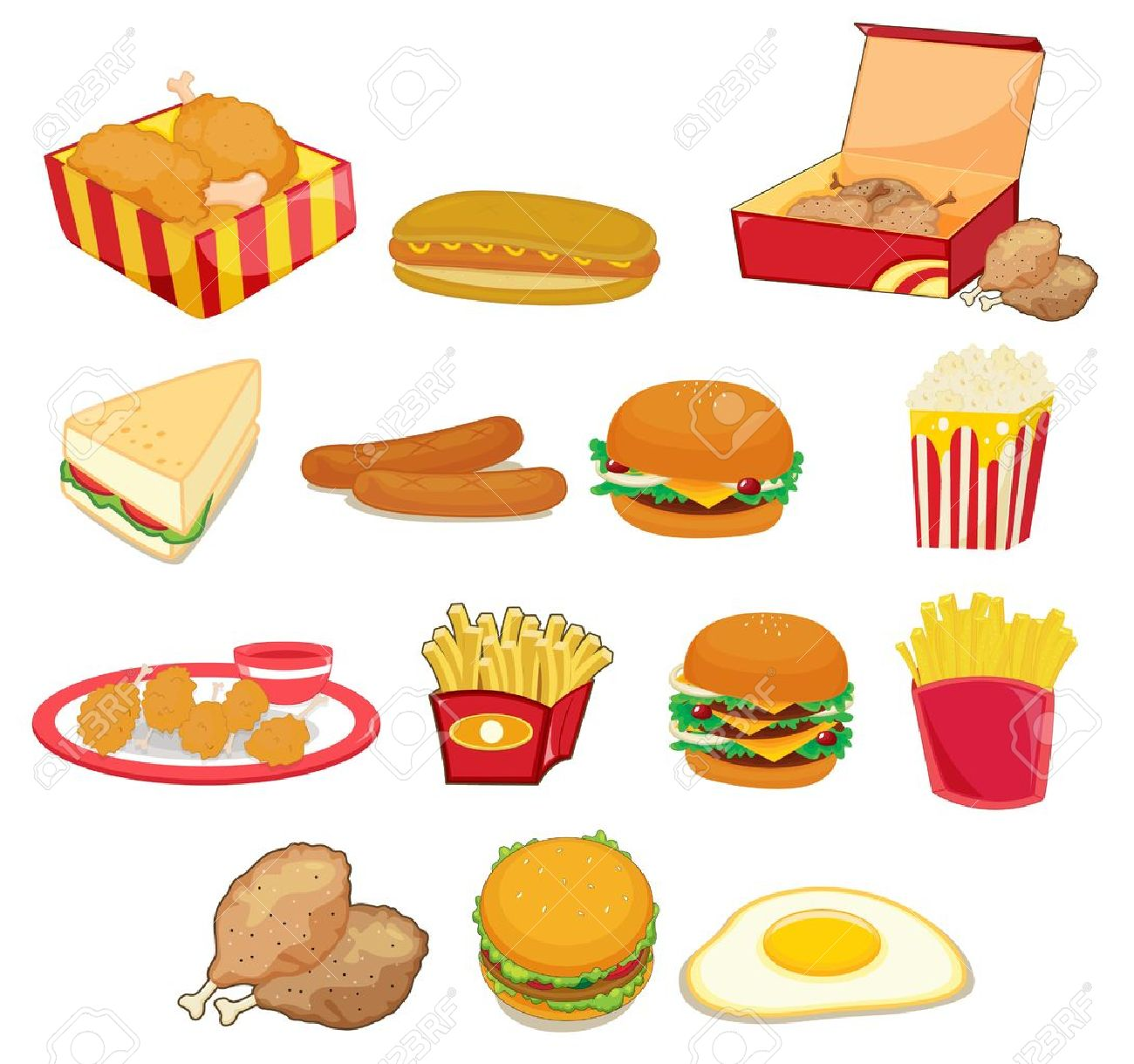 Illustration Of Junk Food On W Royalty Free Cliparts, Vectors, And.