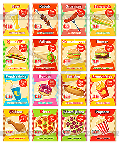 Fast food restaurant menu card template with price.