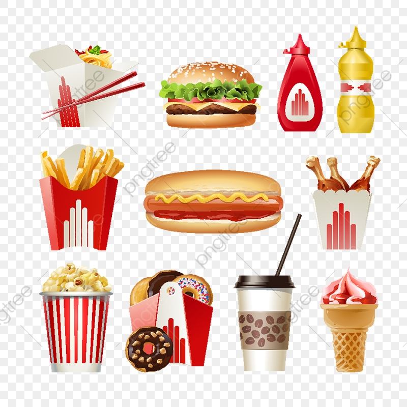 Set Beautiful Cartoon Icons Of Fast Food Red, Food, Fast, Isolated.