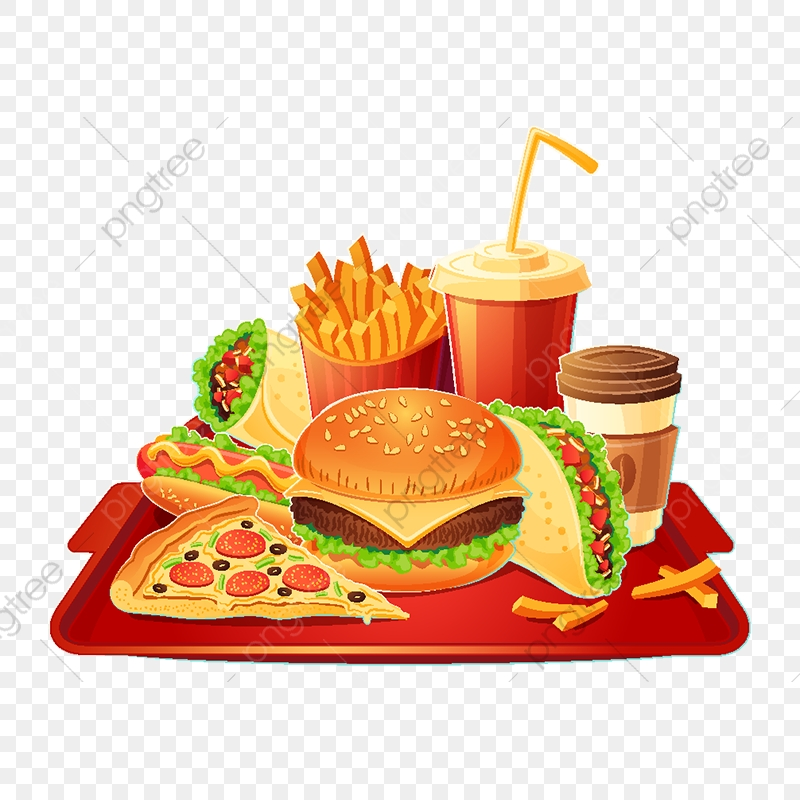 Vector Cartoon Illustration Of A Traditional Set Of Fast Food Me Red.