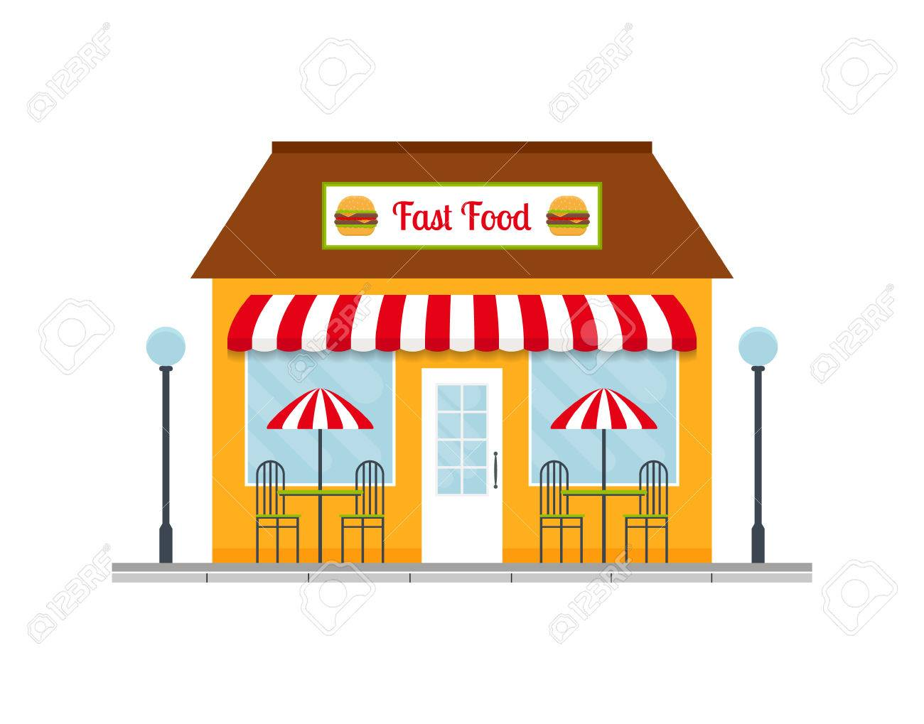 Fast food restaurant building icon. vector illustration in flat...