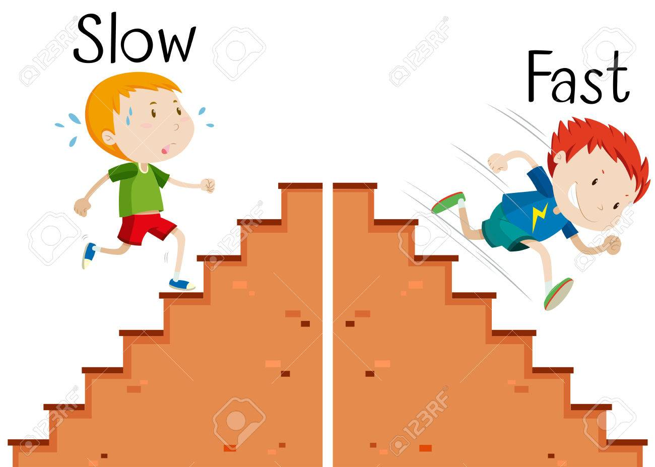 Opposite words slow and fast illustration.