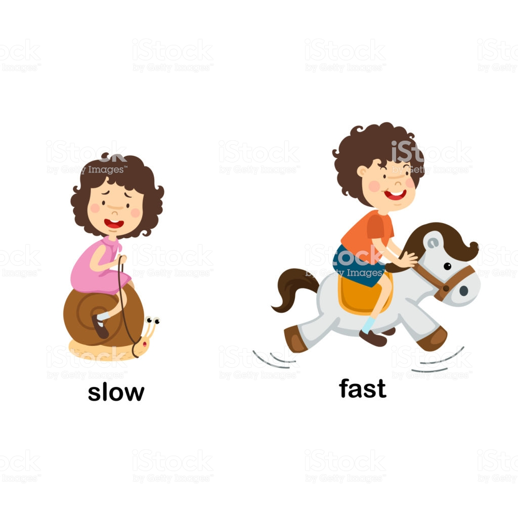 Opposite Slow And Fast Stock Illustration.