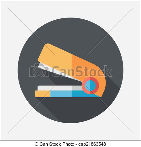 EPS Vector of Stapler flat icon with long shadow,eps10 csp21863548.