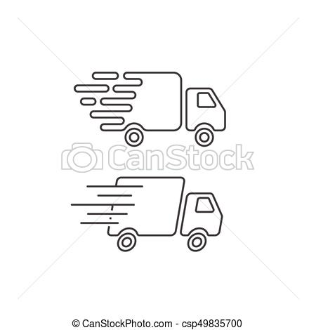 Delivery truck icon line, fast shipping cargo van, courier transportation.