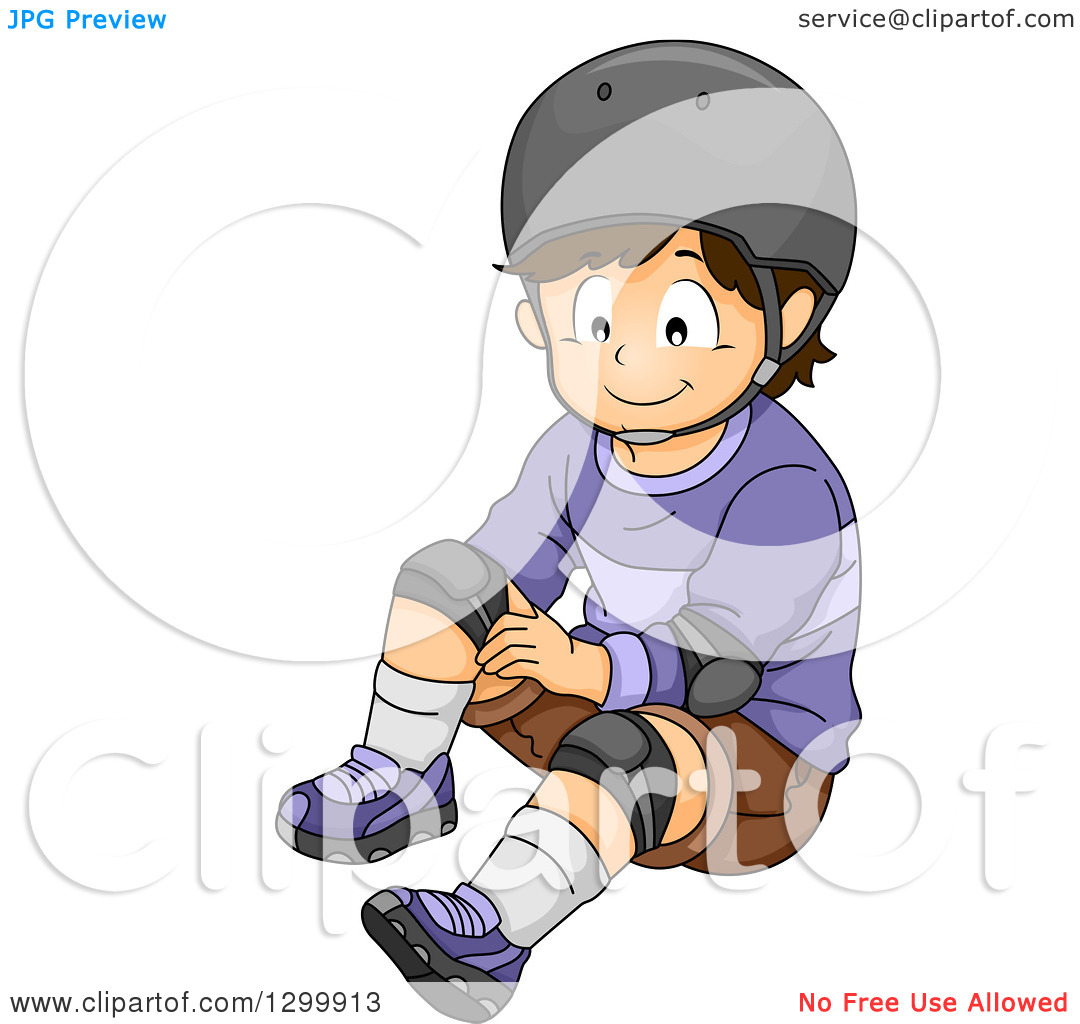 Clipart of a Brunette White Boy in a Helmet, Fastening Knee Pads.