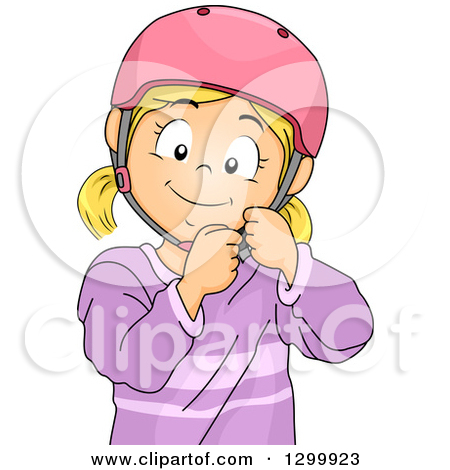 Clipart of a Blond White Girl Fastening a Helmet.