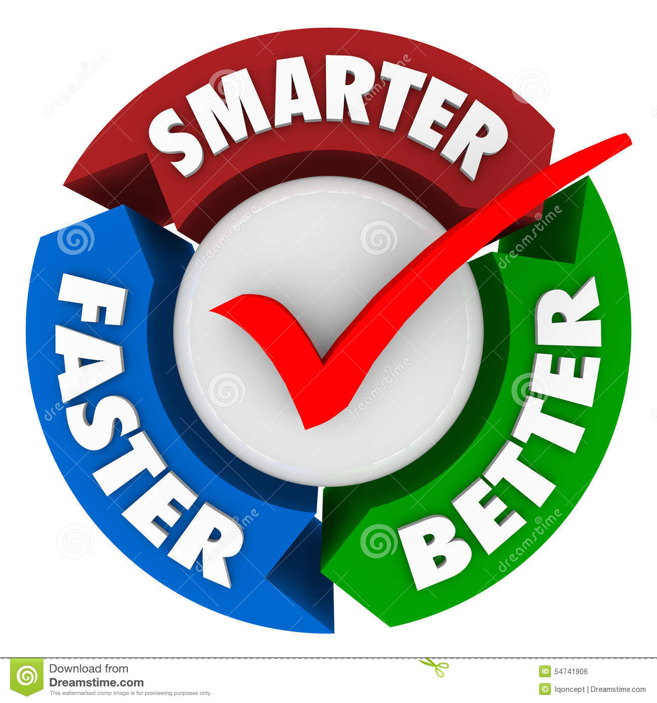 Smarter Faster Better Words Perfect Choice Check Mark Circle Stock.