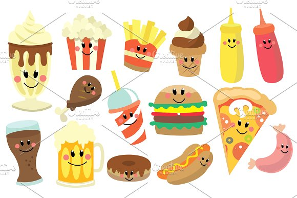 Fast Food Clipart Set ~ Illustrations on Creative Market.
