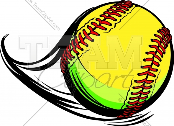 Moving Fastpitch Softball with Laces and Movement Lines Vector Image.