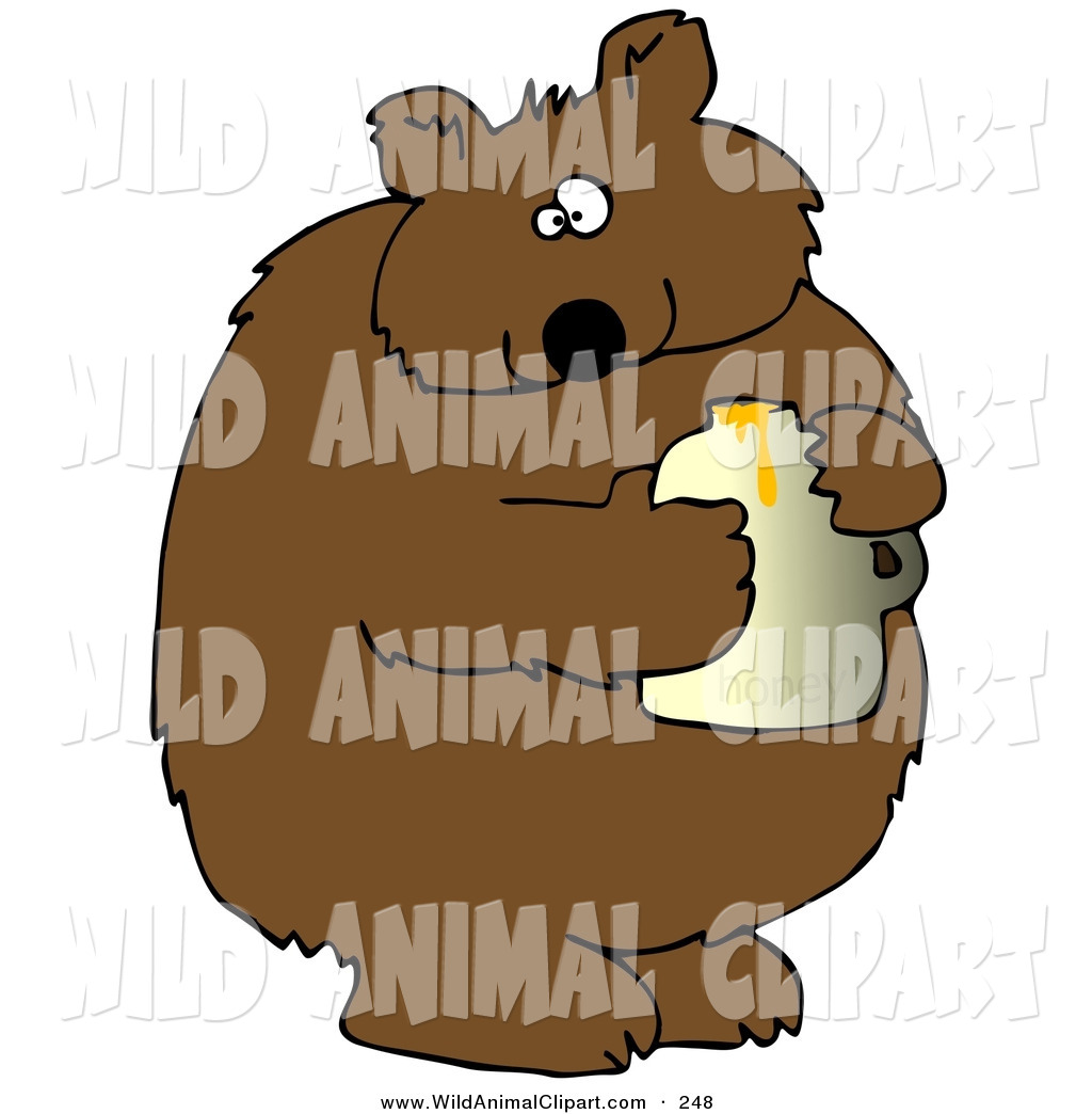 Clip Art of a Fat Wild Brown Bear Holding a Honey Jar and.