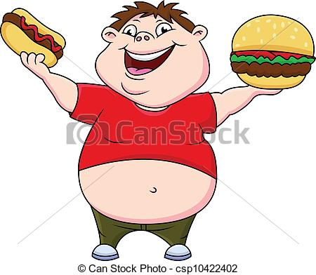 Vector Clipart of Fat boy with burger and hot dog csp10422402.