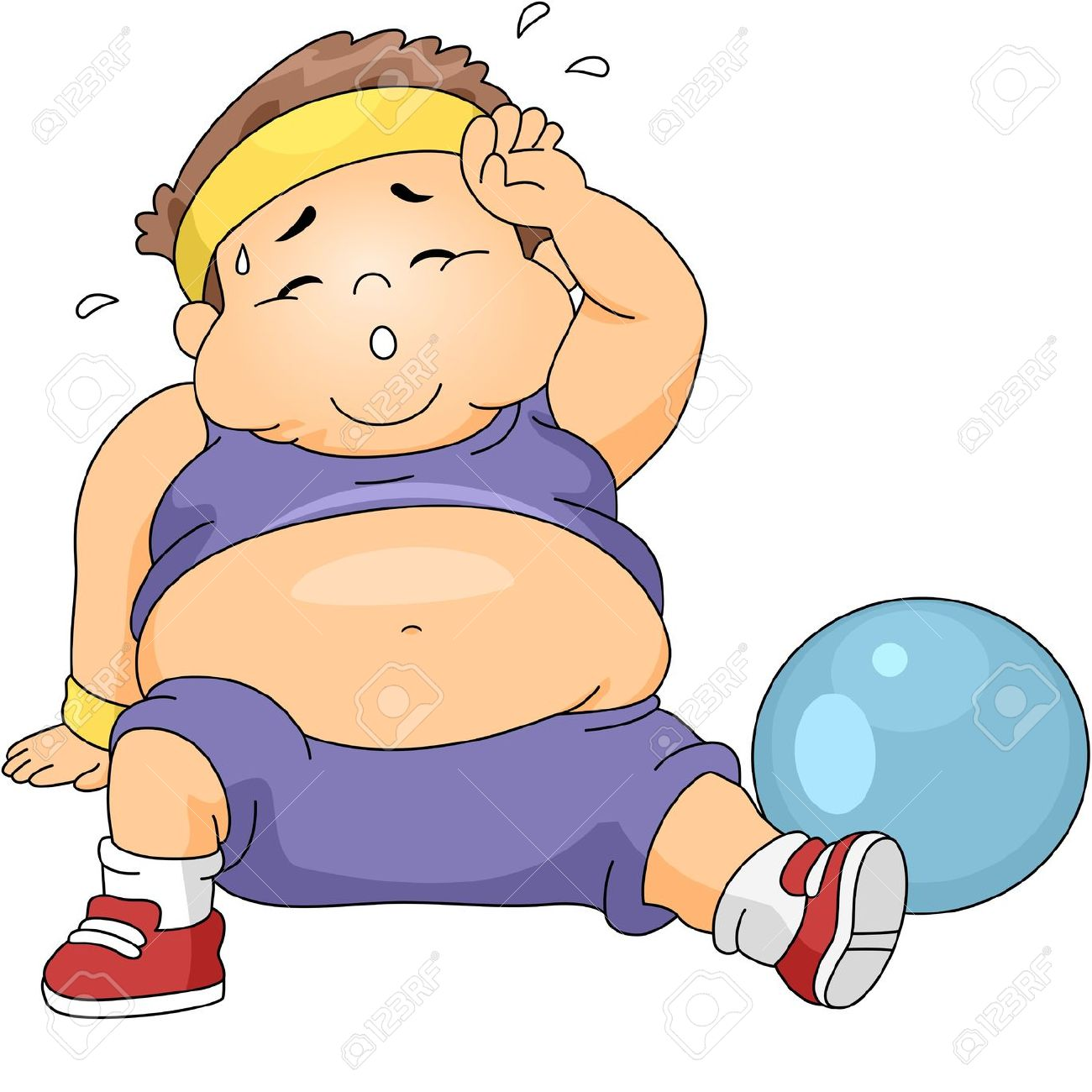 Illustration Of An Overweight Boy Exercising Stock Photo, Picture.
