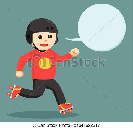 Vector Clip Art of fat roller skater with callout csp41622317.
