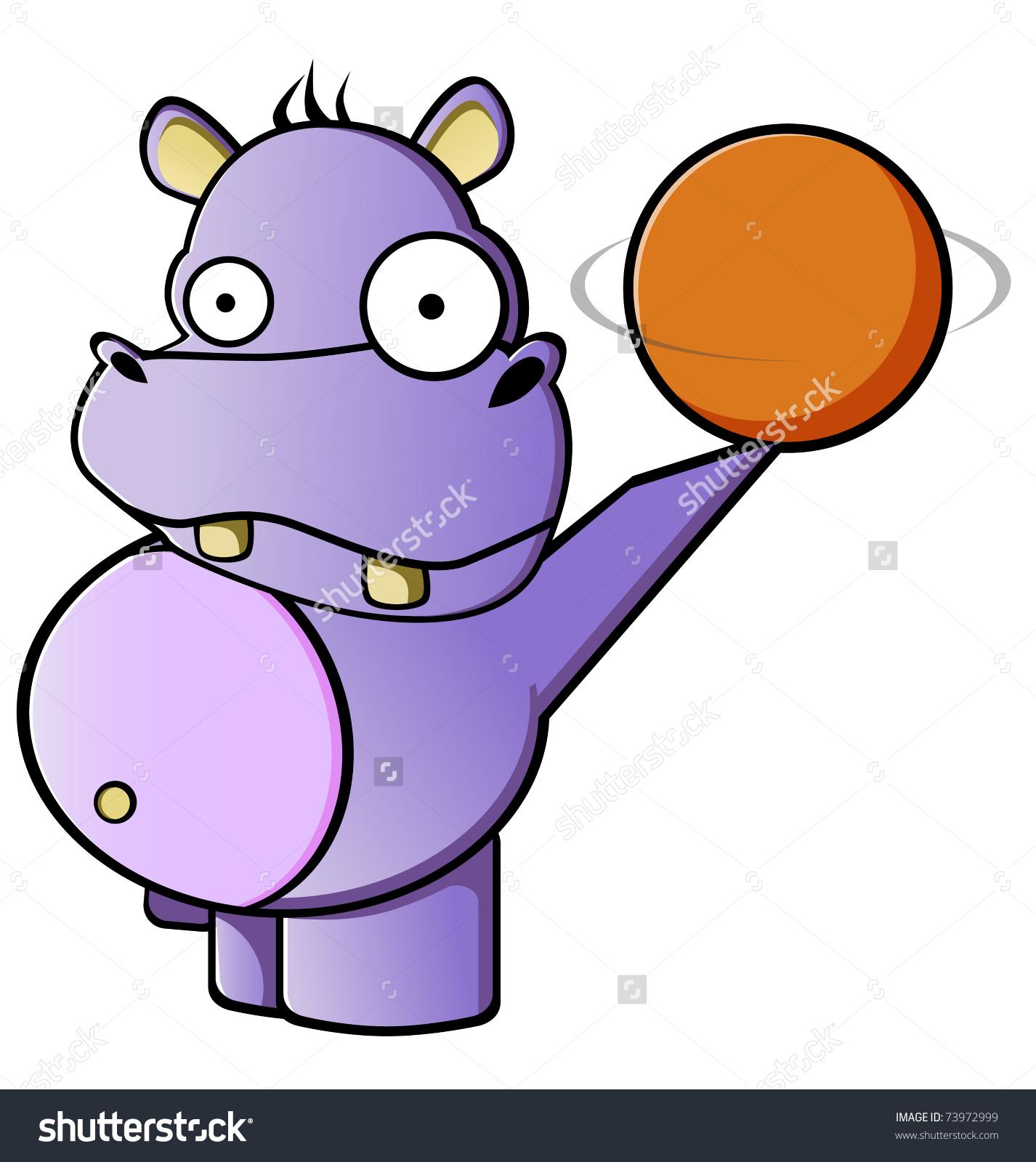 Purple Fat Hippo Rotating Ball Stock Vector 73972999.