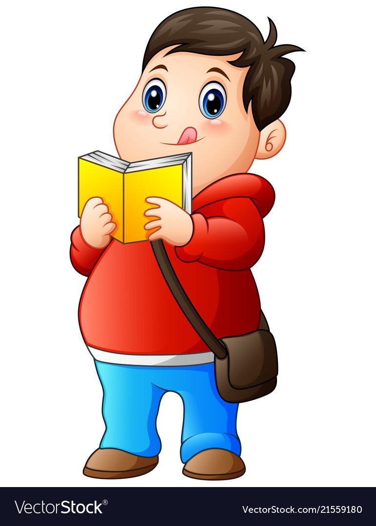 Cartoon fat boy in sweater reading a book.