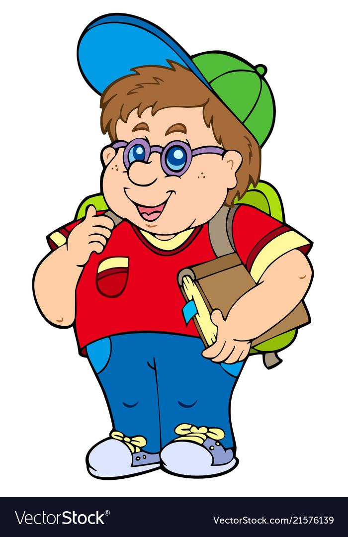 Fat school boy.