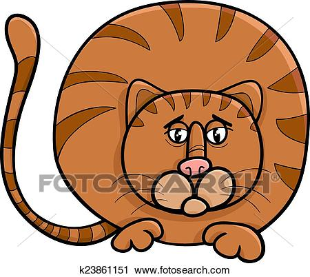 Fat cat character cartoon illustration Clipart.