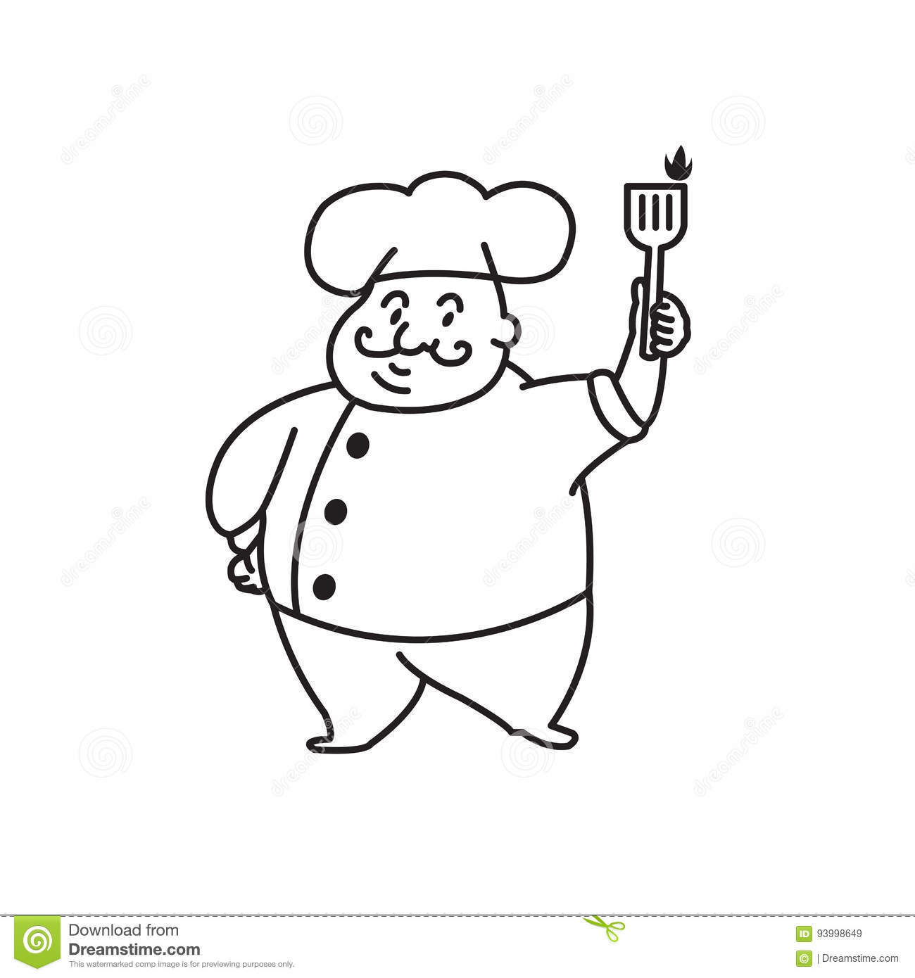 Fat Chef stock vector. Illustration of holding, food.