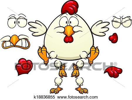 Fat cartoon chicken Clipart.