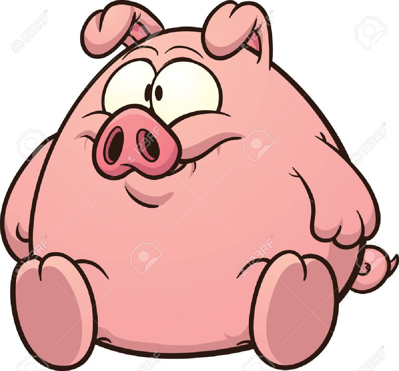 Fat pig clip art Vector cartoon illustration with simple gradients...