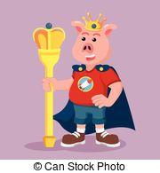 Clipart Vector of fat king cartoon fantasy character.