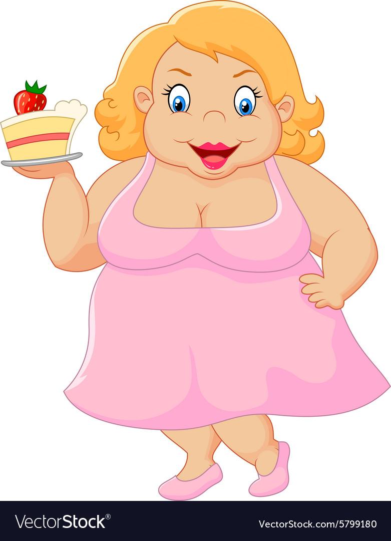 Cartoon fat woman holding cake.