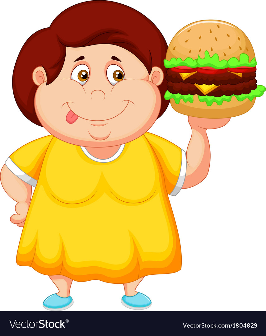 Fat girl cartoon smiling and ready to eat a big ha.