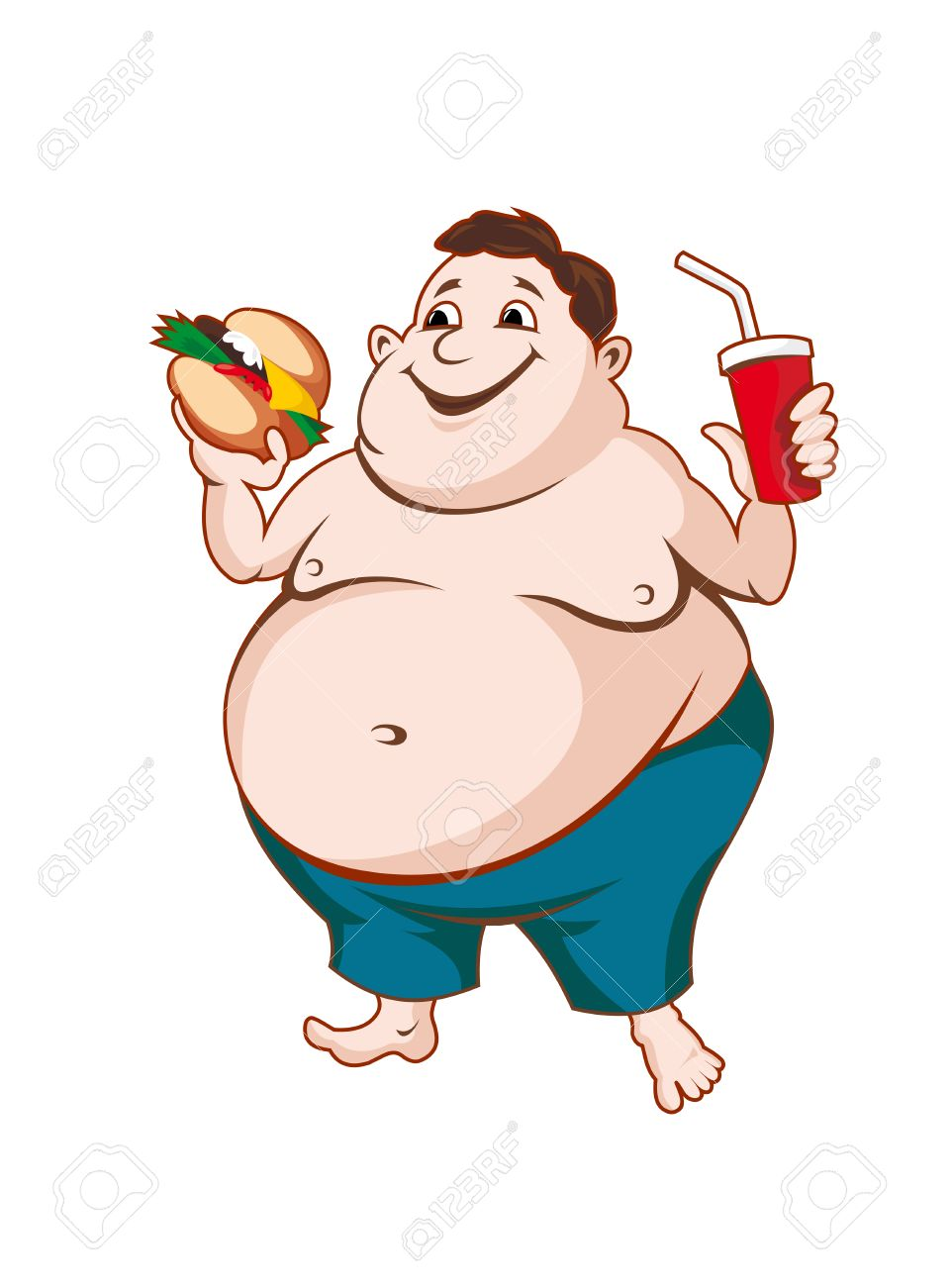 Fat man with fast food isolated on white background.