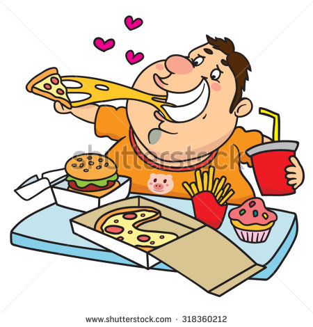 Fat Man Eating Clipart.