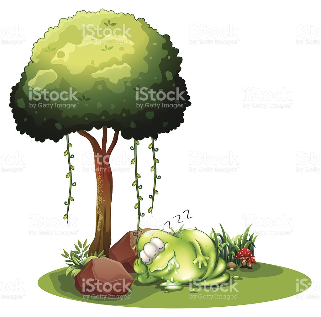 Fat Green Monster Sleeping Under The Tree stock vector art.