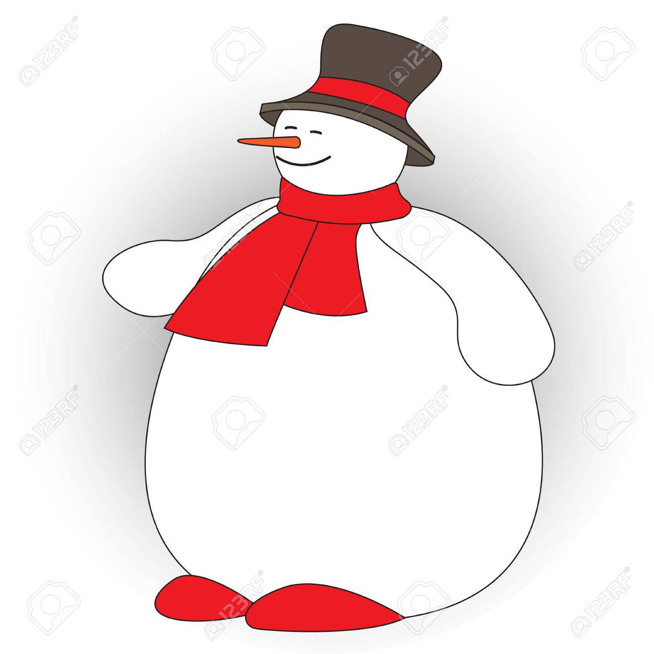 Cute fat snowman on white background. Vector illustration.