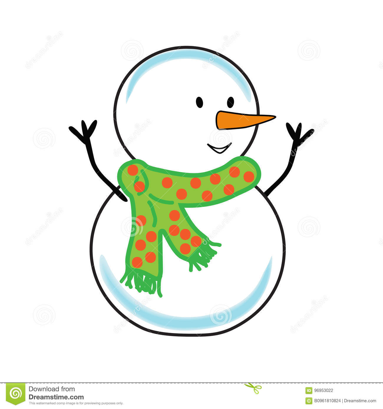 Fat Cheerful Snowman. Christmas. Stock Illustration.