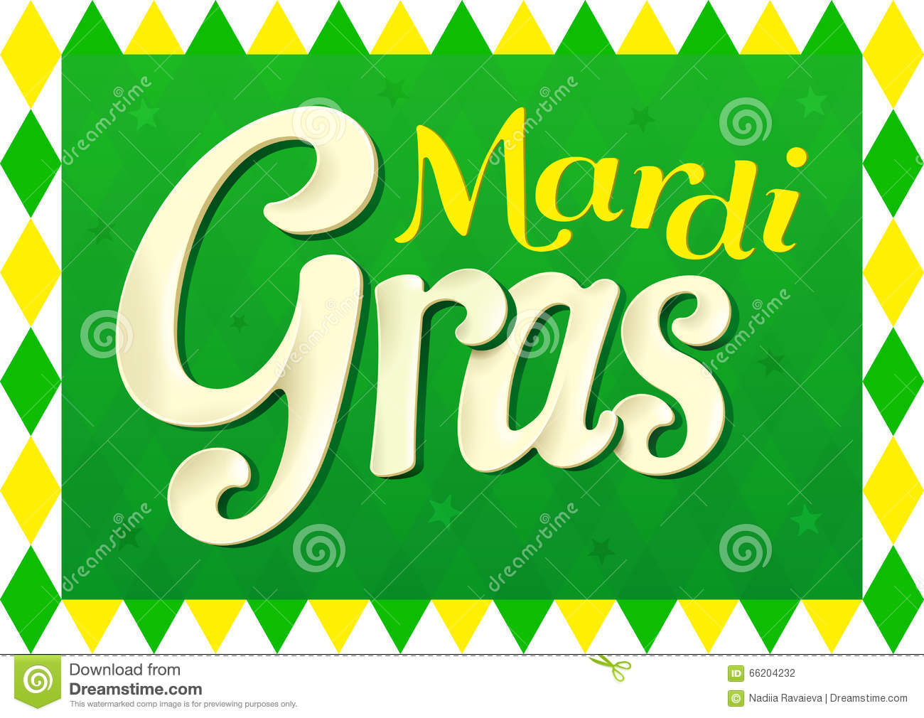 Mardi Gras Design For Fat Thursday With Green Colors Stock Vector.