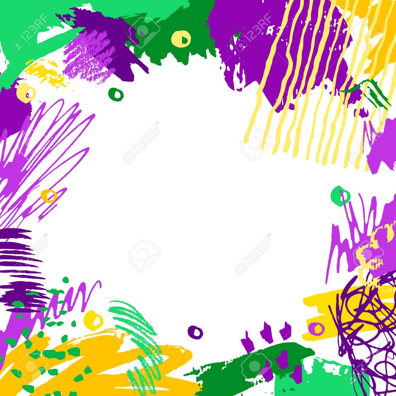 Mardi Gras card. Hand drawn Fat Tuesday background. Artistic...