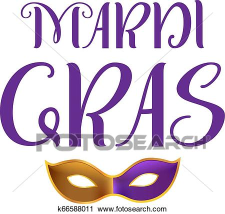 Mardi gras carnival fat tuesday. Lettering text greeting card Clipart.