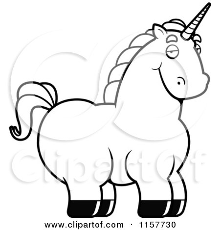 Cartoon Clipart Of A Black And White Chubby Unicorn.