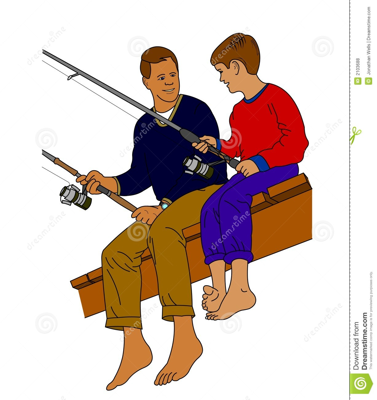 Father And Son Fishing Clipart.