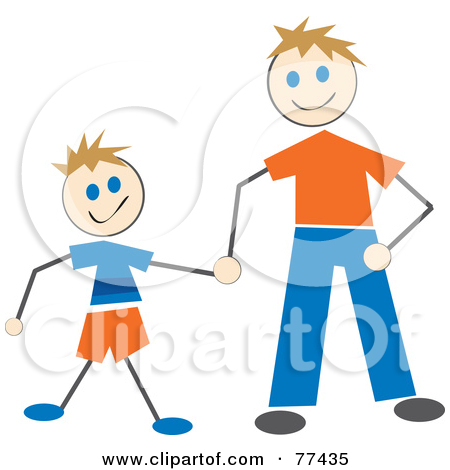 Father holding son clipart.