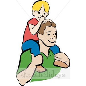 Colorful Father and Son Clipart.