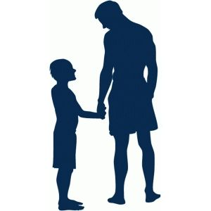 Silhouette Design Store: father and son holding hands.