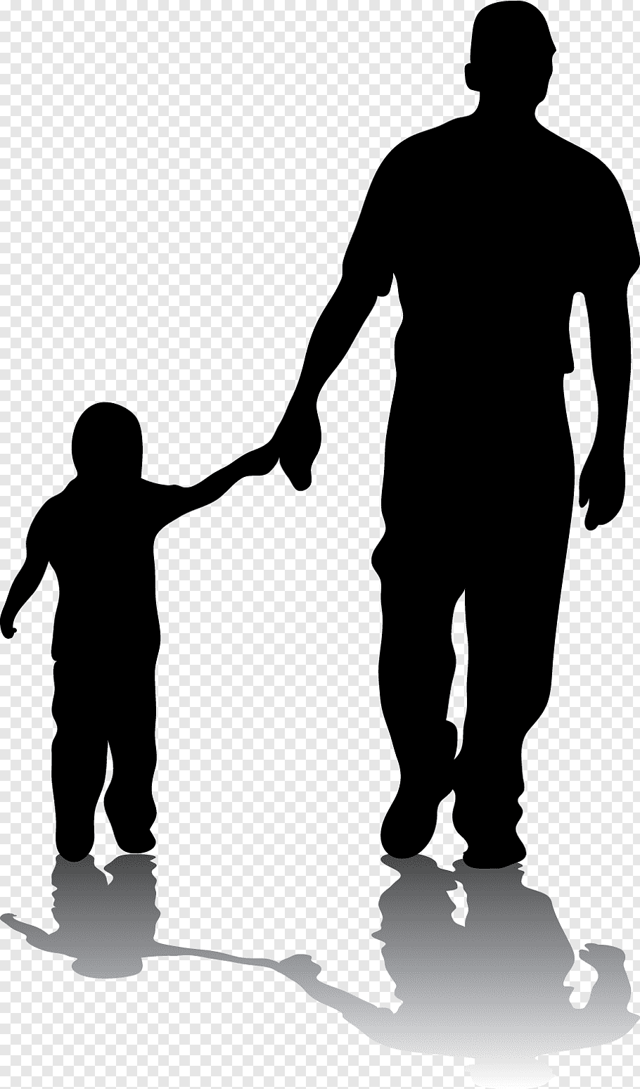 Man holding hand of toddler, Father Silhouette Son Daughter.