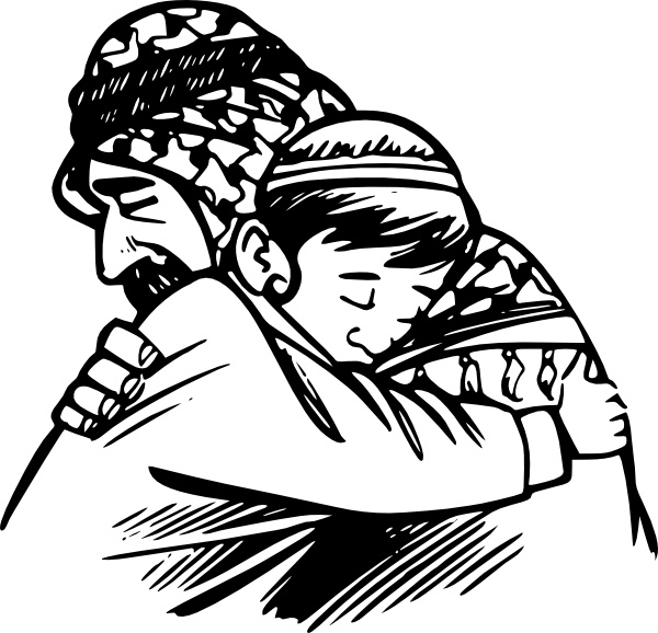Father Hug Son clip art Free vector in Open office drawing svg.