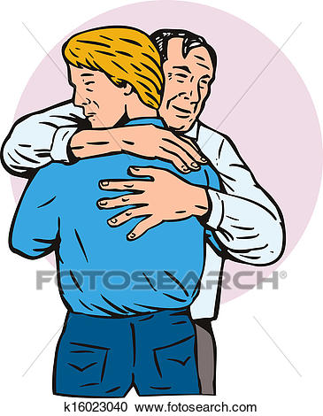 Father Hugging Son Clipart.