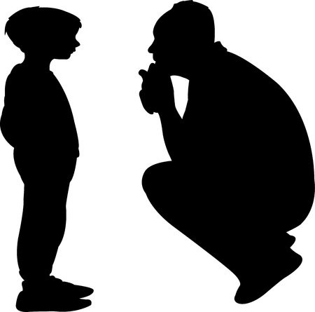 father talking to son, silhouette vector: Royalty.